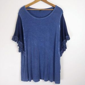 RXB Top w Lace Flutter Sleeves & Scoop Neck, XL
